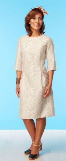 Natural Silk 3/4 sleeves pleated dress